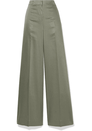 Theory - Twill Wide-leg Pants - Gray green
