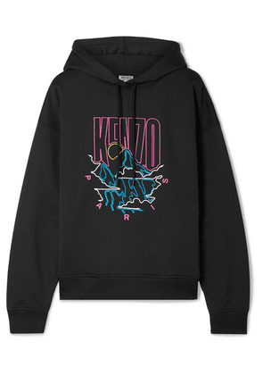 KENZO - Embroidered Cotton-blend Cady Hoodie - Black