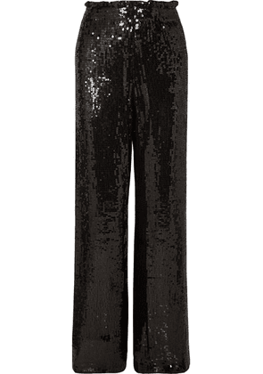Alice + Olivia - Elba Sequined Crepe Wide-leg Pants - Black
