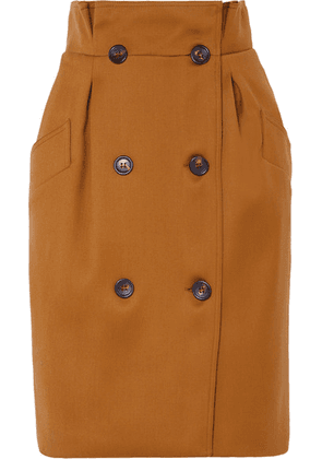 Max Mara - Button-embellished Wool Skirt - Brown