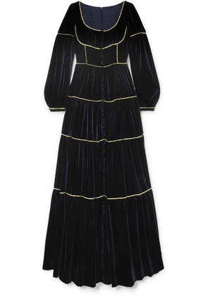 Costarellos - Tiered Crystal-embellished Velvet Gown - Midnight blue
