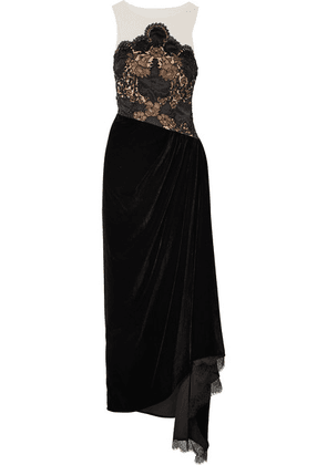 Reem Acra - Charmeuse-trimmed Lace, Velvet And Tulle Gown - Black