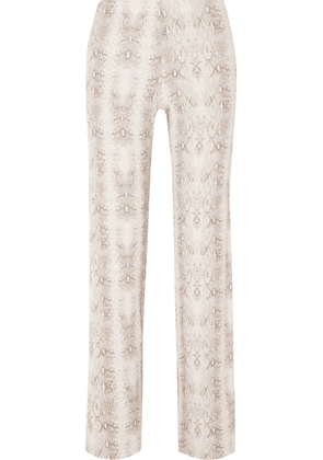 LESET - Sophia Snake-print Ribbed Stretch-modal Slim-leg Pants - Gray