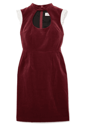 Comme des Garçons GIRL - Ruffle-trimmed Cutout Cotton-velvet Dress - Burgundy