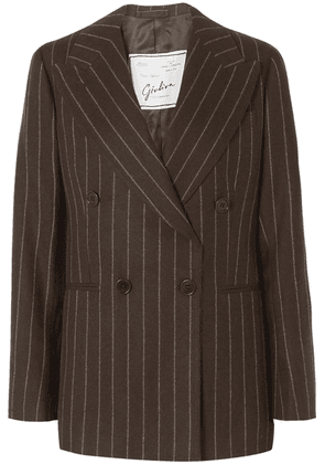 Giuliva Heritage Collection - Stella Double-breasted Pinstriped Wool Blazer - Brown