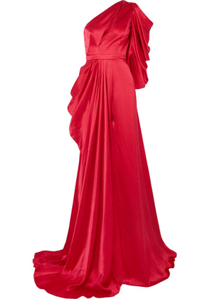 Ong-Oaj Pairam - Evelyn One-shoulder Draped Silk-satin Gown - Red