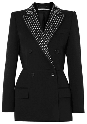 Givenchy - Double-breasted Crystal-embellished Wool And Silk-blend Twill Blazer - Black