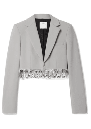 AREA - Cropped Crystal-embellished Woven Blazer - Stone