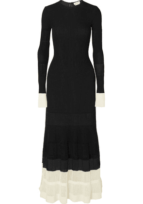 Alexander McQueen - Two-tone Paneled Ribbed-knit Midi Dress - Black