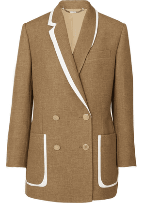 Fendi - Double-breasted Bow-detailed Leather-trimmed Wool And Silk-blend Blazer - Beige