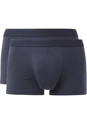 Sunspel - Two-pack Stretch-cotton Boxer Briefs - Navy