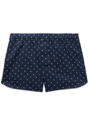 Derek Rose - Nelson Printed Cotton Boxer Shorts - Midnight blue