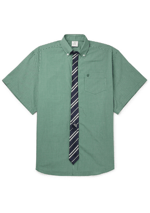 Vetements - Oversized Tie-trimmed Checked Cotton Shirt - Green