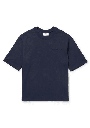 AMI - Logo-embroidered Cotton-jersey T-shirt - Navy
