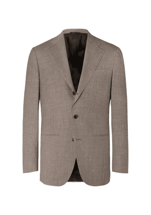 Saman Amel - Taupe Mélange Wool, Silk And Linen-blend Suit Jacket - Taupe