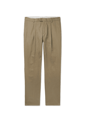 Caruso - Beige Pleated Cotton-twill Trousers - Green