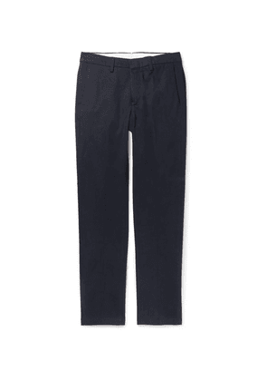 Dunhill - Navy Slim-fit Stretch Cotton And Cashmere-blend Chinos - Navy
