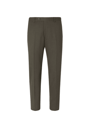 Mr P. - Slim-fit Wool-blend Cropped Trousers - Green
