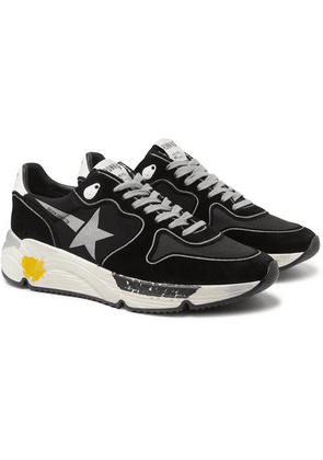 Golden Goose - Distressed Nubuck And Lycra Sneakers - Black