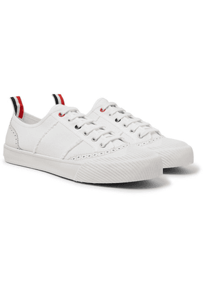 Thom Browne - Leather And Rubber-trimmed Canvas Sneakers - White