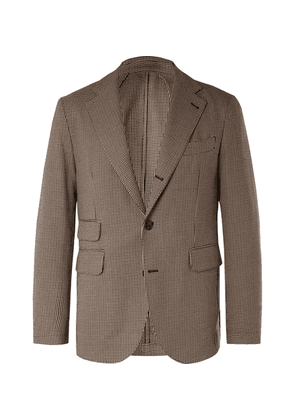 MAN 1924 - Brown Kennedy Slim-fit Unstructured Puppytooth Wool And Cotton-blend Suit Jacket - Brown