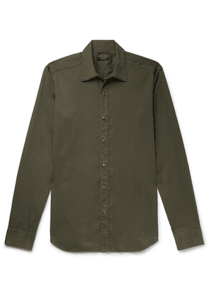Tod's - Slim-fit Garment-dyed Cotton-blend Twill Shirt - Army green