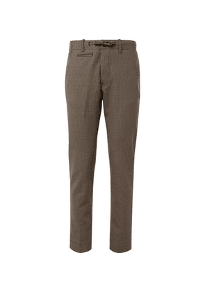 MAN 1924 - Brown Tomi Slim-fit Tapered Puppytooth Wool And Cotton-blend Suit Trousers - Brown