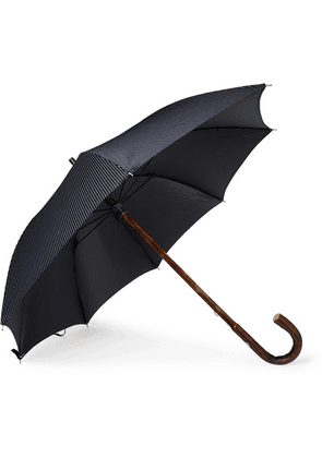 Francesco Maglia - Pinstriped Chestnut Wood-handle Umbrella - Navy