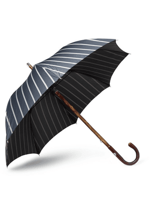 Francesco Maglia - Striped Wood-handle Umbrella - Navy