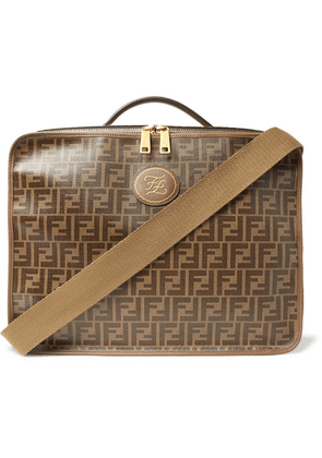 Fendi - Leather-trimmed Logo-jacquard Coated-canvas Travel Case - Brown