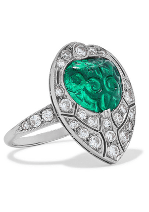 Fred Leighton - 1920s Platinum, Emerald And Diamond Ring - White gold
