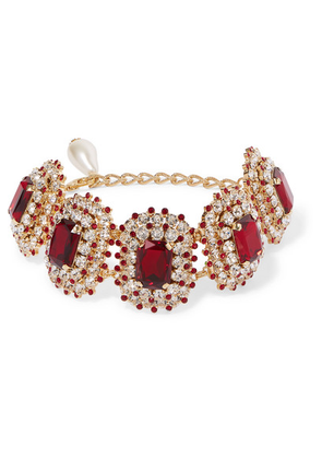 Dolce & Gabbana - Gold-tone, Crystal And Faux-pearl Choker - Red