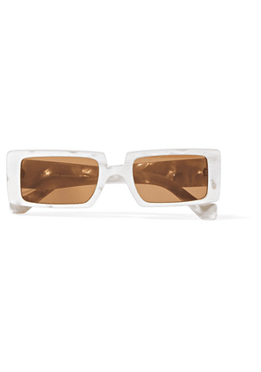 Loewe - Square-frame Marbled Acetate Sunglasses - White
