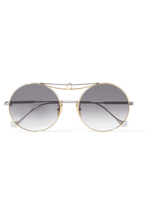 Loewe - Round-frame Silver And Gold-tone Sunglasses - one size