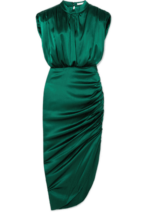 Veronica Beard - Kendall Gathered Stretch-silk Satin Dress - Dark green