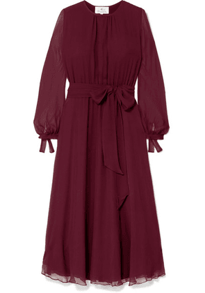 ARoss Girl x Soler - Amanda Belted Silk-georgette Midi Dress - Burgundy