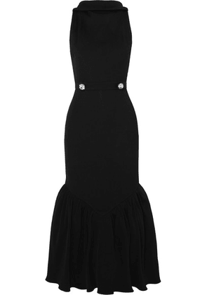 Christopher Kane - Tiered Crystal-embellished Ribbed-knit Midi Dress - Black