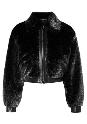 TOM FORD - Cropped Leather-trimmed Metallic Faux Fur Bomber Jacket - Silver