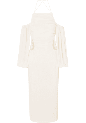 Dion Lee - Ruched Cutout Jersey Midi Dress - Ivory