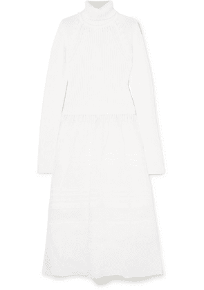 Loewe - Ribbed Wool And Cotton-voile Turtleneck Midi Dress - White