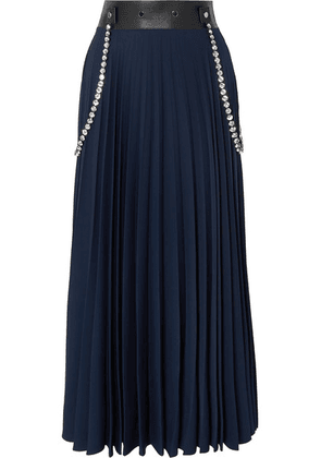 Christopher Kane - Embellished Leather-trimmed Pleated Cady Maxi Skirt - Navy