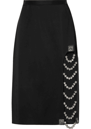Christopher Kane - Embellished Leather-trimmed Satin Skirt - Black