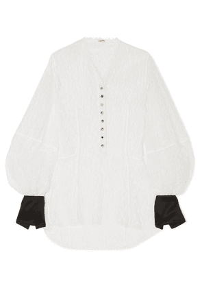 Loewe - Satin-trimmed Corded Lace Blouse - White