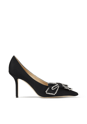 SAPHIA 85 Black Grosgrain Pumps with Crystal Embellishment
