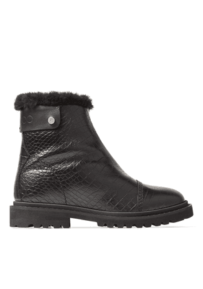 VOYAGER II/F Black Croc-Embossed Calf Leather Snow Boots with Heated Soles