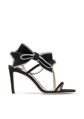 SARARA 85 Black Grosgrain Stiletto Sandals with Crystal-Embellished Bow