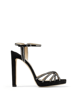 LILAH 120 Black Suede Stiletto Sandals with Crystal Embellishment