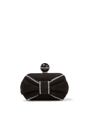 CLOUD Black Suede Clutch Bag with Crystal Embellishment