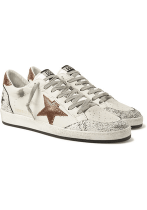 Golden Goose - Ballstar Distressed Leather Sneakers - White