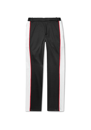 Burberry - Piped Mesh-panelled Tech-jersey Trousers - Black